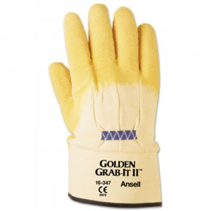 AnsellPro ANS1634710 Golden Grab-It II Heavy-Duty Work Gloves, Size 10, Latex/Jersey, Yellow, 12 PR
