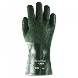AnsellPro ANS441210 Snorkel Chemical-Resistant Gloves, Size 10, PVC/Nitrile, Green, 12 PR