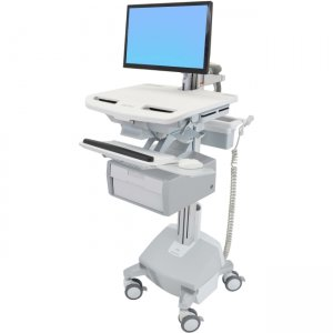 Ergotron SV44-12B2-1 StyleView Cart with LCD Arm, LiFe Powered, 1 Tall Drawer (1x1)