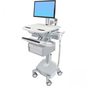 Ergotron SV44-13B2-1 StyleView Cart with LCD Pivot, LiFe Powered, 1 Tall Drawer (1x1)