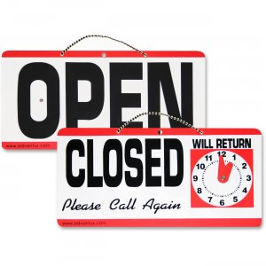 Advantus 83636 Open/Closed Sign With Clock AVT83636