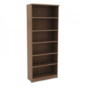 Alera ALEVA638232WA Valencia Series Bookcase, Six-Shelf, 31 3/4w x 14d x 80 3/8h, Mod Walnut