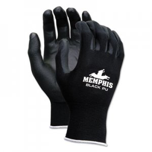 MCR Safety CRW9669S Economy PU Coated Work Gloves, Black, Small, 1 Dozen