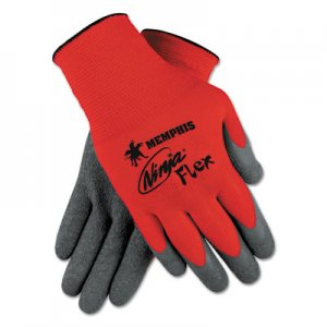 MCR Safety CRWN9680L Ninja Flex Latex Coated Palm Gloves N9680L, Large, Red/Gray, 1 Dozen
