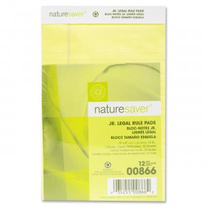 Nature Saver 00866 100% Recy. Canary Jr. Rule Legal Pads NAT00866
