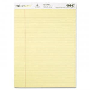 Nature Saver 00867 100% Recycled Canary Legal Ruled Pads NAT00867