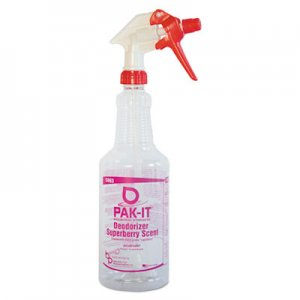 PAK-IT BIG586320004012 Empty Color-Coded Trigger-Spray Bottle, 32 oz, for Deodorizer - Superberry Scent