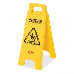 Rubbermaid Commercial 611200YWCT Multi-Lingual Caution Floor Sign RCP611200YWCT