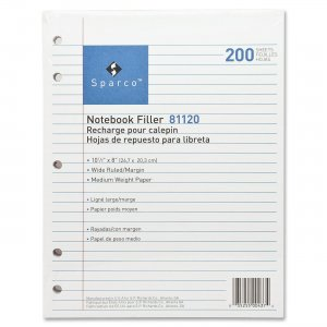 Sparco 81120 5-hole Punched Wide Ruled Filler Paper SPR81120