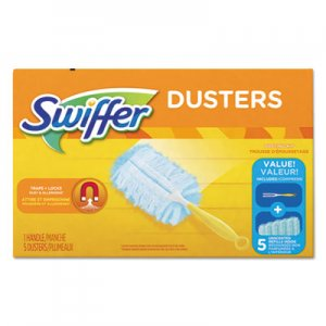"Swiffer PGC11804CT Dusters Starter Kit, Dust Lock Fiber, 6"" Handle, Blue/Yellow, 6/Carton"