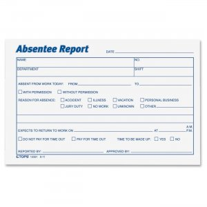 TOPS 12391 Absentee Report Form TOP12391