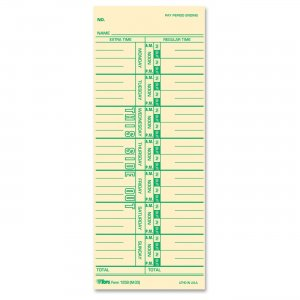 TOPS 12593 Named Days Weekly Time Card TOP12593