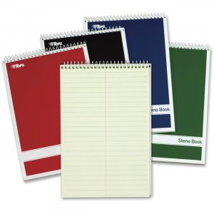 TOPS 80221 Steno Book, Gregg Rule, Greentint, Assorted Covers, 80 Sheet/Book, 4 Book/Pack TOP80221
