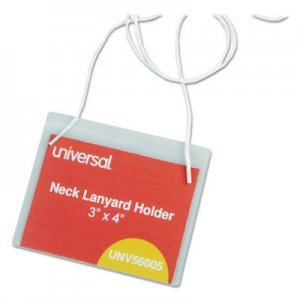 Genpak UNV56005 Clear Badge Holders w/Neck Lanyards, 3 x 4, White Inserts, 100/Box