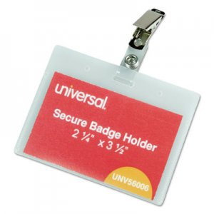 Genpak UNV56006 Deluxe Clear Badge Holder w/Garment-Safe Clips, 2.25 x 3.5, White Insert, 50/Box