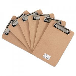 "Genpak UNV05561 Hardboard Clipboard with Low-Profile Clip, 1/2"" Capacity, 6 x 9, Brown, 6/Pk"