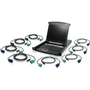 Iogear GCL1808KITUTAA 8-Port LCD Combo KVM Switch with USB KVM Cables (TAA Compliant)