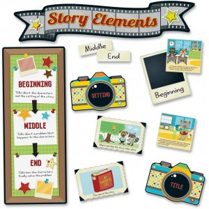 Carson-Dellosa 110335 Hipster Story Elements Bulletin Board Set CDP110335