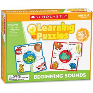 Scholastic 0545302218 GrK-2 Beginning Sounds Learning Puzzles SHS0545302218