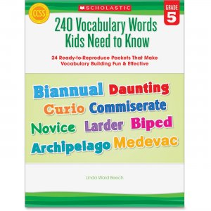 Scholastic 0545468655 Grade 5 Vocabulary 240 Words Book SHS0545468655