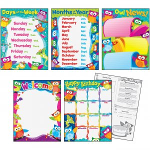 TREND 38959 Classroom Basics Owl-Stars! Learning Charts Combo Pack TEP38959