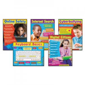 TREND TEP38961 Learning Chart Combo Pack, Technology, Online Safety, 18w x 27 1/4h, 5/Set