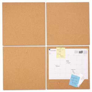 Genpak UNV43404 Cork Tile Panels, Brown, 12 x 12, 4/Pack