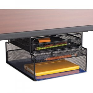 Safco SAF3244BL Onyx Hanging Organizer w/Drawer, Under Desk Mount, 12 1/3 x 10 x 7 1/4, Black