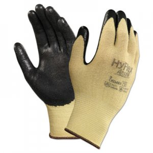 AnsellPro ANS115007 HyFlex CR Gloves, Size 7, Yellow/Black, Kevlar/Nitrile, 24/Pack