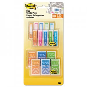 "Post-it MMM680SH4VAOTG Flags Combo Pack, 1/2"" and 1"", Assorted Bright Colors, 320/Pack"