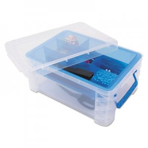 Advantus AVT37371 Super Stacker Divided Storage Box, Clear w/Blue Tray/Handles, 10.3 x 14.25x 6.5