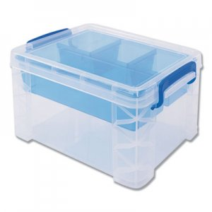 Advantus AVT37375 Super Stacker Divided Storage Box, Clear w/Blue Tray/Handles, 7 1/2 x 10.12x6.5