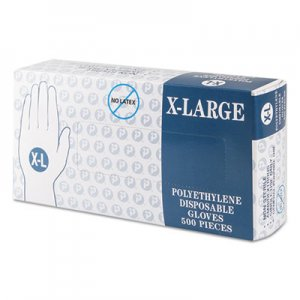 Inteplast Group IBSGLXL2K Embossed Polyethylene Disposable Gloves, X-Large, Powder-Free, Clear