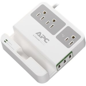 APC P3U3 Essential SurgeArrest, 3 Outlets, 3 USB Charging Ports, 120V
