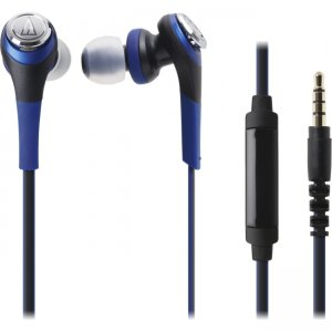 Audio-Technica ATH-CKS550ISBL Solid Bass In-Ear Headphones with In-line Mic & Control