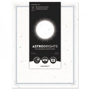 "Astrobrights WAU91105 Foil Enhanced Certificates, 8 1/2"" x 11"", Stardust White, 25/Pk"