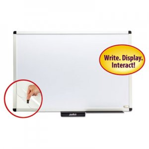 "Smead SMD02571 Justick Premium Aluminum-Frame Electro-Surface Bulletin Board, 36"" x 24"", White"