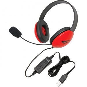 Califone 2800RD-USB USB Stereo Headphones Listening First Series Red