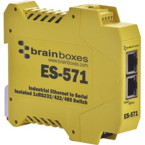 Brainboxes ES-571-X20M Industrial Isolated Ethernet To Serial + Switch