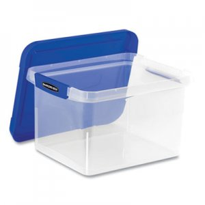 Bankers Box FEL0086202 Heavy Duty Plastic File Storage, Locking Lid, Letter/Legal, Clear/Blue, 2/Pack