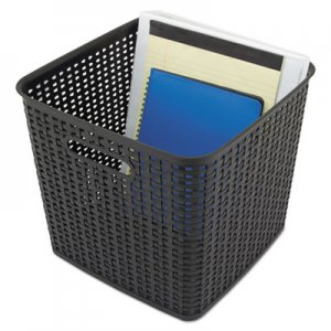"Advantus AVT40376 Extra Large Weave Bin, 12.5"" x 11.13"", Black, 2/Pack"
