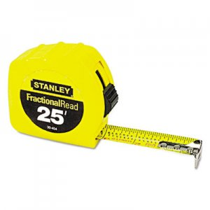 "Stanley Tools BOS30454 Tape Rule, 1"" x 25ft, Steel Blade, Plastic Case, Yellow"