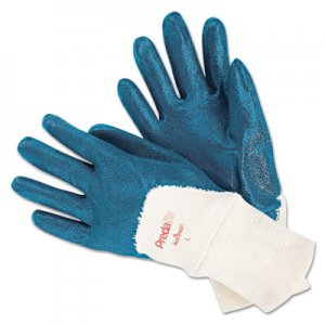 MCR Safety MPG9780L Predalite Nitrile Gloves, Cotton Lined, Blue/White, Large, 12 Pairs