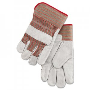 MCR Safety MPG1200 Economy Grade Leather Gloves, White/Red, Large, 12 Pairs