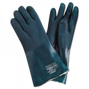 MCR Safety MPG6414 Premium Chemical-Resistant PVC Gloves, 14 in. Length, Large, Green, 12 Pairs