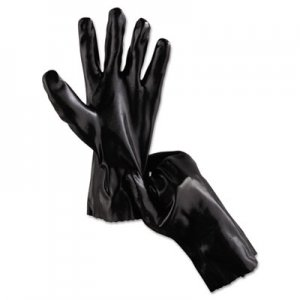 "MCR Safety MPG6212 Single Dipped PVC Gloves, Smooth, Interlock Lined, 12"" Long, Large, BK, 12 Pairs"