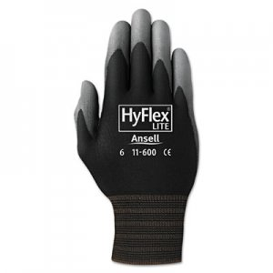 AnsellPro ANS1160011BK HyFlex Lite Gloves, Black/Gray, Size 11, 12 Pairs
