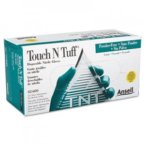 AnsellPro ANS92600859 Touch N Tuff Nitrile Gloves, Teal, Size 8 1/2 - 9, 100/Box