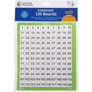 Learning Resources LER0877 Ages 5+ Laminated 120 Math Boards LRNLER0877