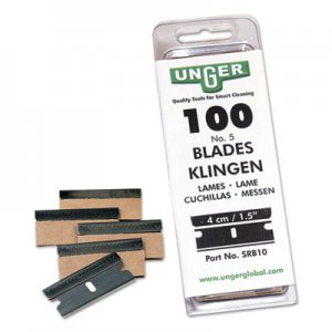 Unger UNGSRB30 Safety Scraper Replacement Blades, #9, Stainless Steel, 100/Box